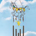 Mosaic Glass Horse Garden Wind Chime
