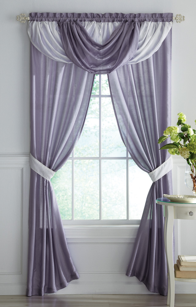 Collections Etc - Purple & White Sheer Curtains W/ Draped Valance at Sears.com