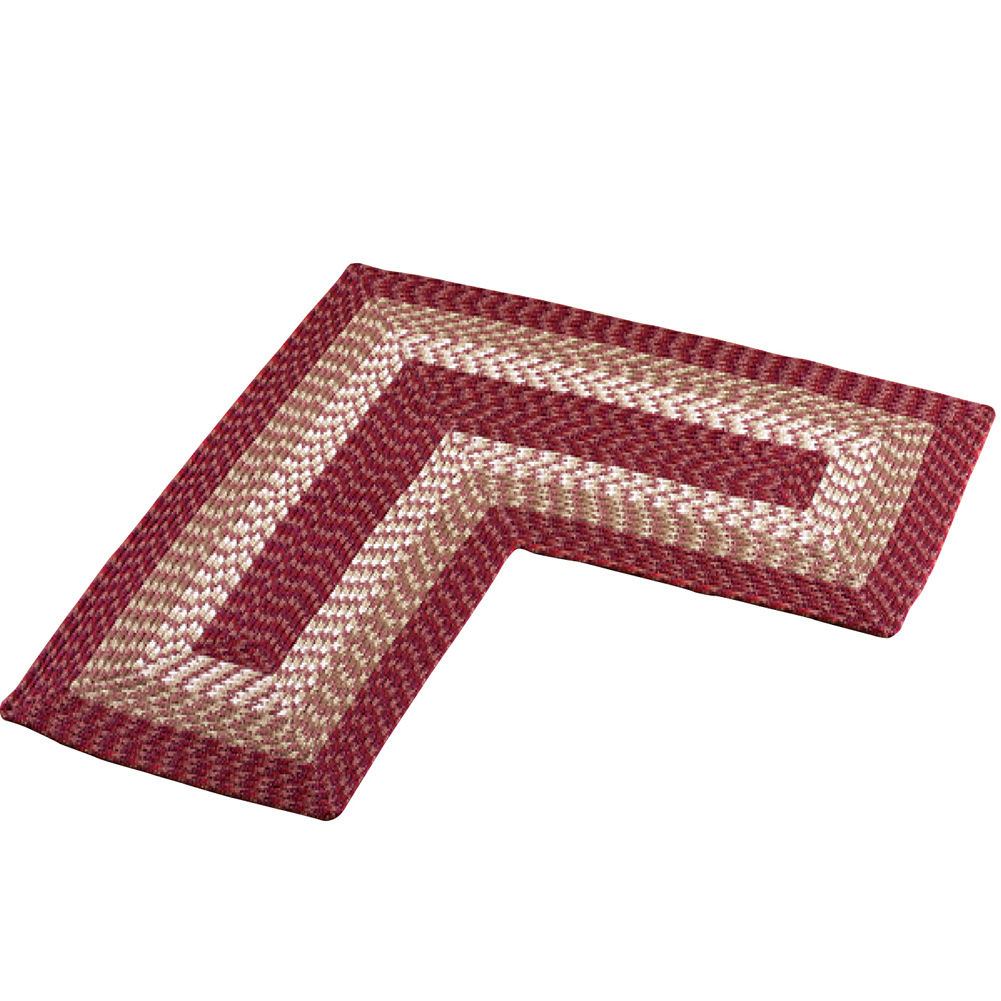 L-shaped Corner Kitchen Laundry Bath Braided Rug, By