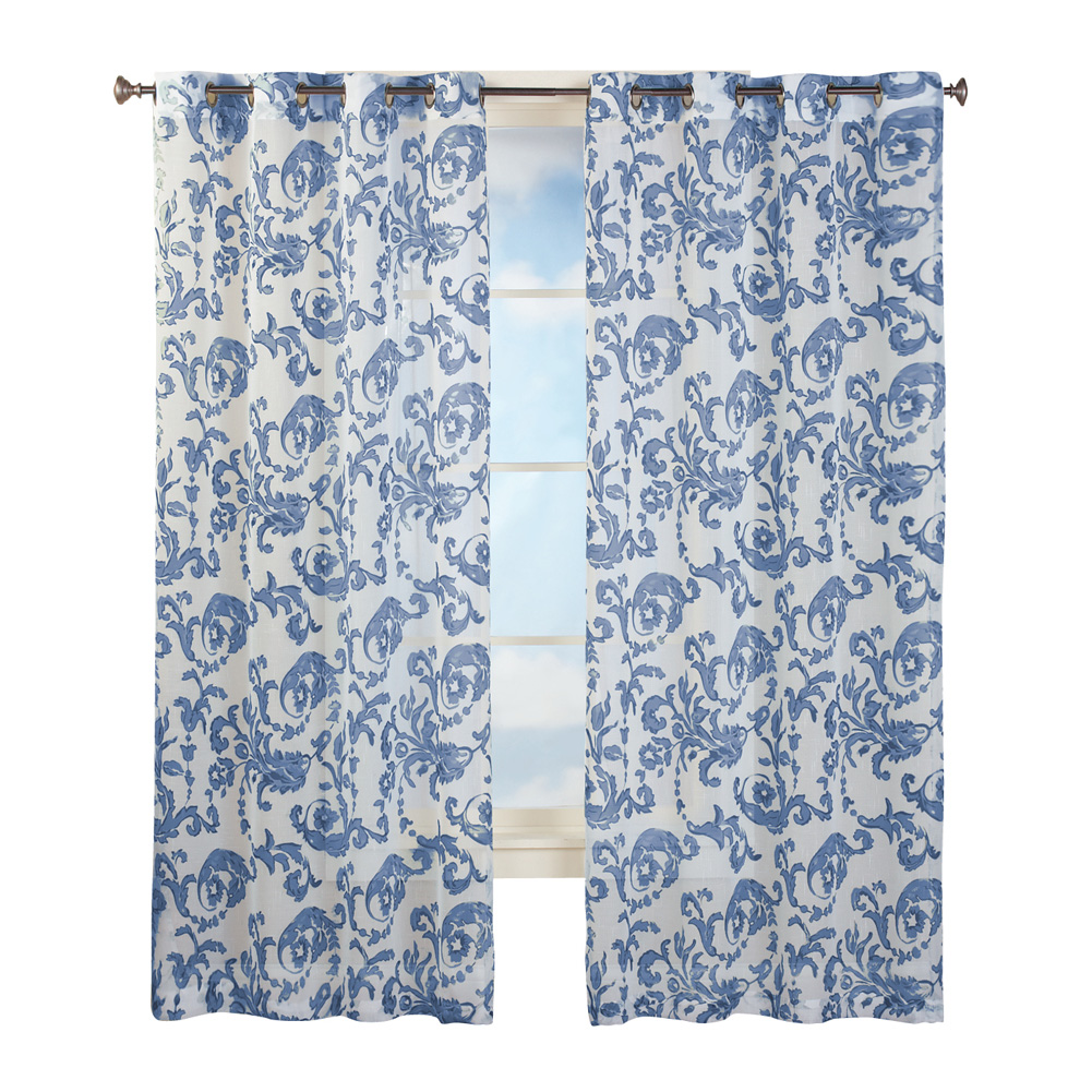 Grommet Top Sheer Curtain Panel with Floral Scroll Linen Pattern | eBay
