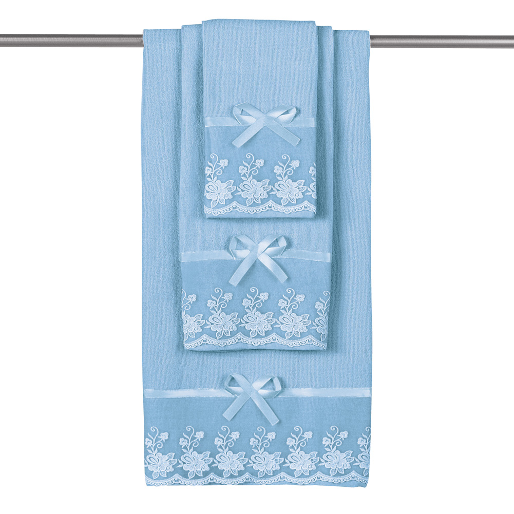 Lace Trim Decorative Display Bath Towel Set with Ribbon Bows - 3pc ...