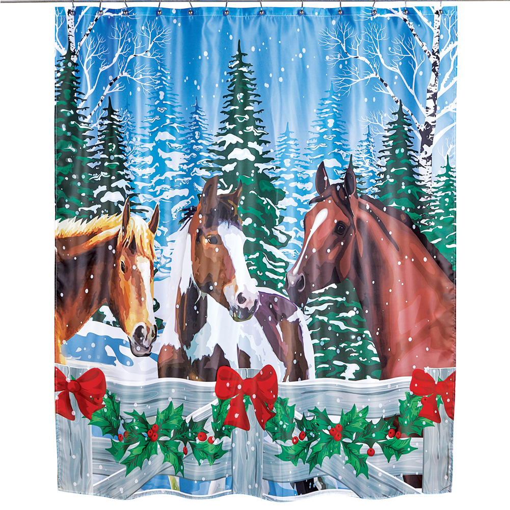 Details About Christmas Horses Winter Scenic Shower Curtain Seasonal Bathroom Accent
