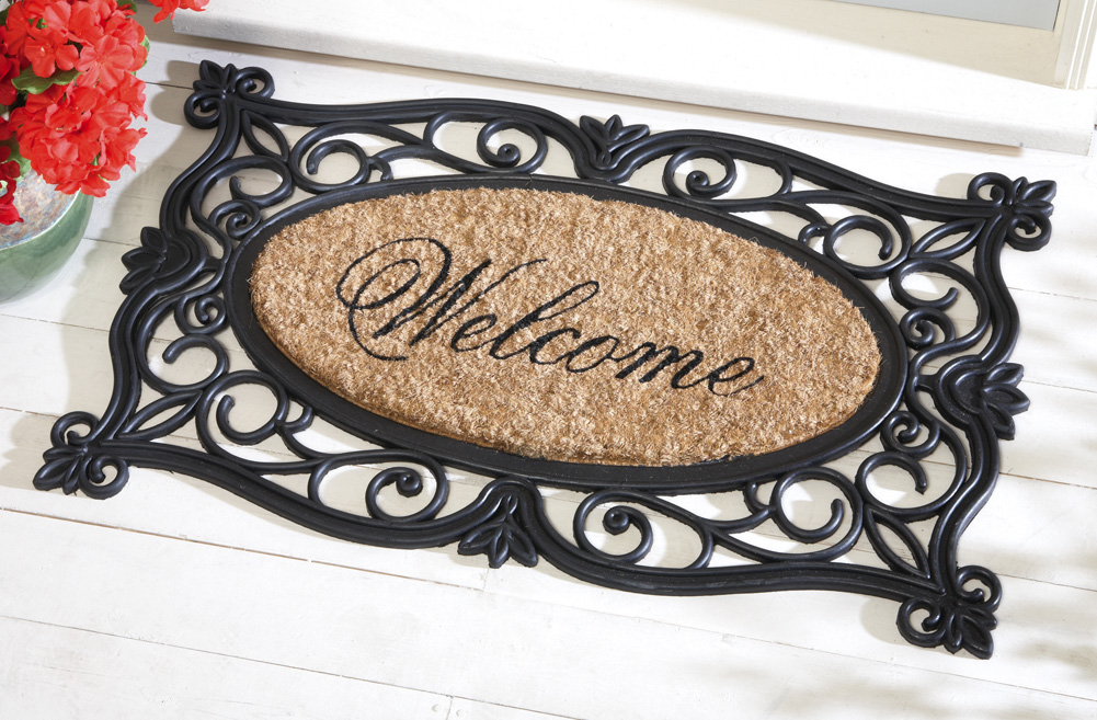 Collections Etc - Scroll Welcome Rubber Door Mat at Sears.com