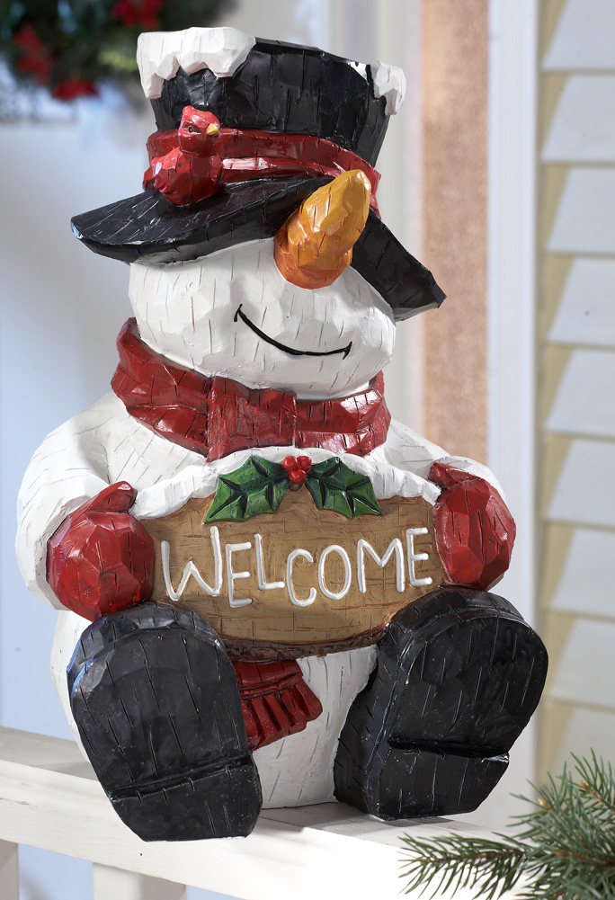 Collections Etc - Welcome Snowman Greeter Statue Winter Decoration at Sears.com