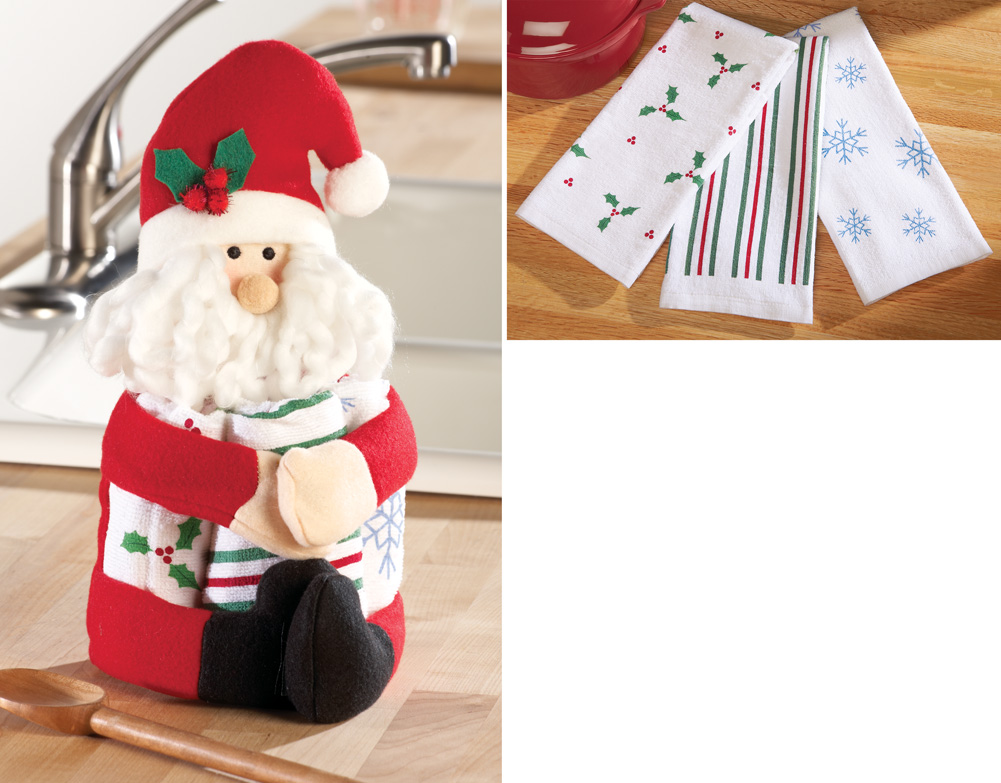 Collections Etc - Santa With Kitchen Dish Towel Gift Set at Sears.com