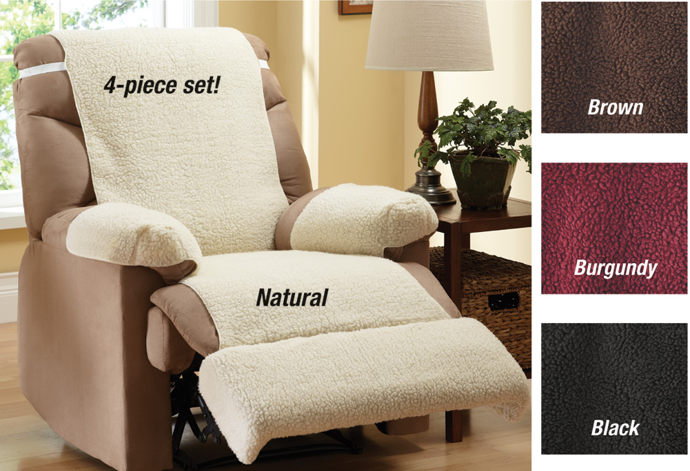 Collections Etc Recliner Chair Fleece Cover 4 Piece Set at Sears.com
