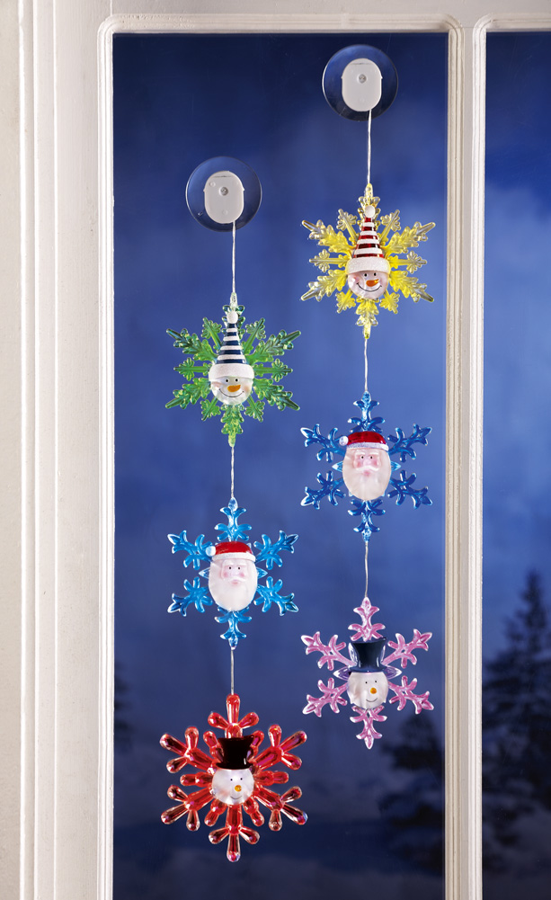 Collections Etc - Santa & Snowmen Color Changing Snowflakes Light Set at Sears.com