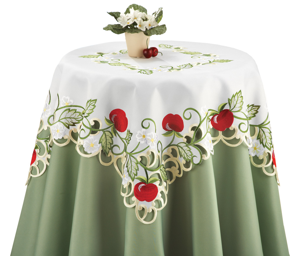 Embroidered Apple Orchard Table Topper Linens By