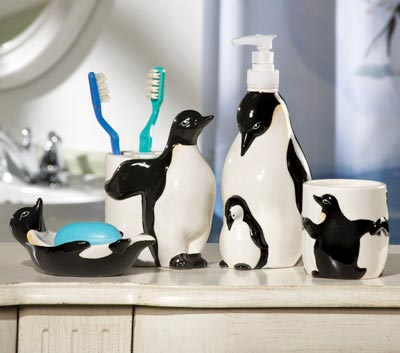 Penguin Toothbrush Holder, Soap Dish, Soap Dispens from