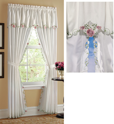 Embroidered Floral Rose Valance & Curtain Set