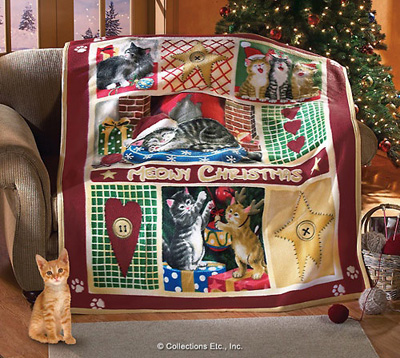 Christmas Cat Themed Fleece Throw Blanket