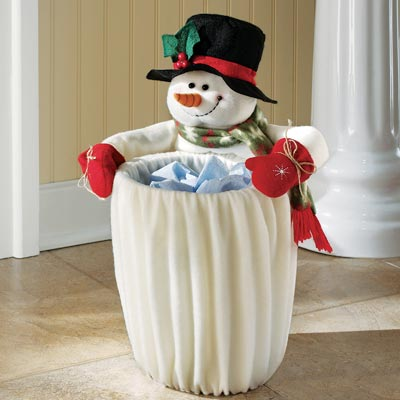 Plush Fleece Snowman Garbage Can Slip Cover