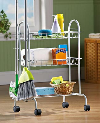 White Rolling 3 Shelf Cleaning Supplies Cart