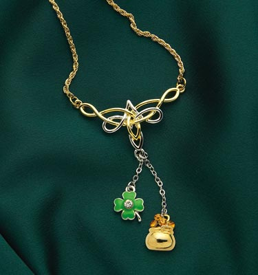 Irish Celtic Necklace w/ Shamrock & Pot of Gold