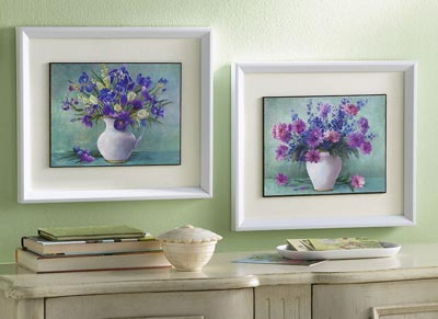 Purple Floral Framed Wall Art