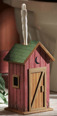 Country Wooden Outhouse Toilet Brush Holder