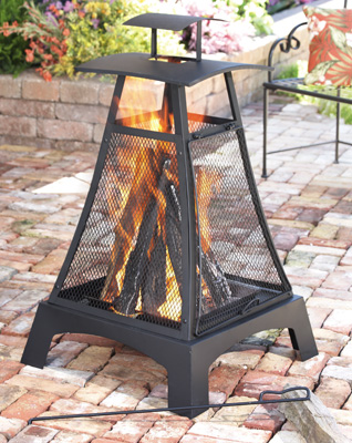 Ashford Backyard Metal Fire Pit with Screen
