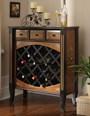 Fruit Design Wine Cabinet With Wine Storage and 3 Drawers