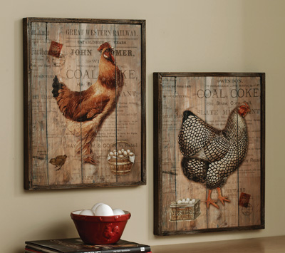 Rustic Rooster and Hen French Country Wall Decor