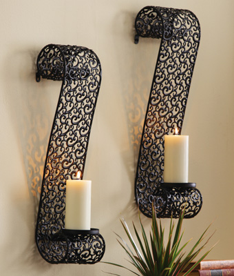 Decorative Black Metal Scrollwork Candle Holder Sconces