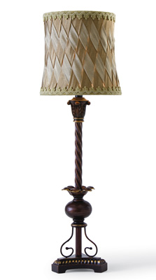 Vintage Table Lamp W/ Crossover Design Shade