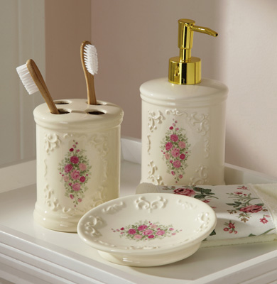 Collections etc find unique online gifts at for Floral bathroom accessories set