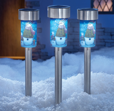 solar snowman garden light stakes set of 3 from