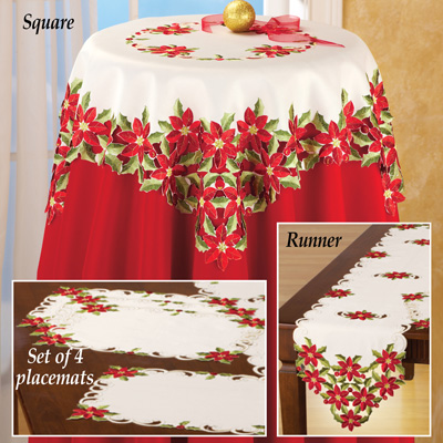 Christmas Poinsettia and Holly Table Linens