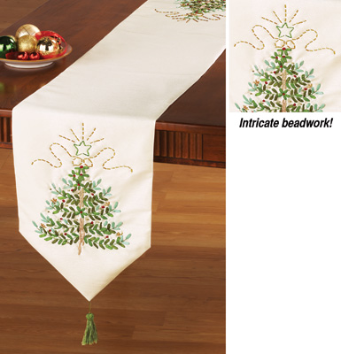 Christmas Tree table from with Ivory Beaded Runner runner christmas  Embroidered Table   cardinal