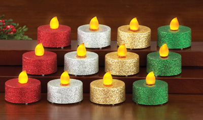 LED Multi Color Glitter Holiday Tealights - Set of 12
