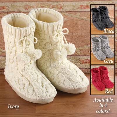 Women's Cable Knit Bootie Slippers