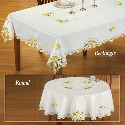 Embroidered Daisy & Rose Ribbon Tablecloth