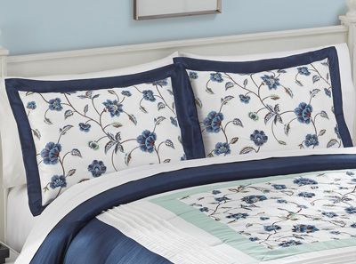 Embroidered Floral Sateen Abigail Pillow Sham