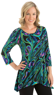 Abstract High Low Hemline 3/4 Sleeves Tunic