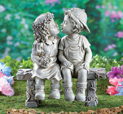 First Kiss Puppy Love Garden Sculpture