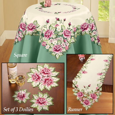 Embroidered Floral Rose Table Linens