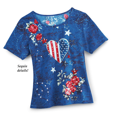 Patriotic Country Heart Scoop Neck Top