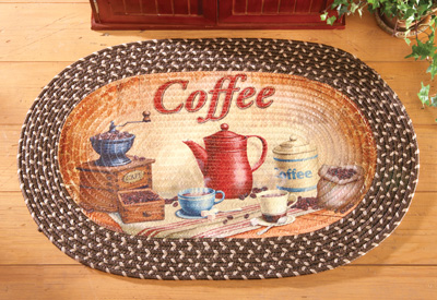 Coffee Time Braided Accent Rug