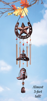 Western Cowboy Welcome Wind Chime