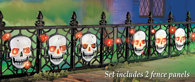 Lighted Halloween Skull Pathway Fence - Set of 2