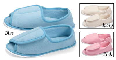 Adjustable Plush Terry Wrap House Slippers