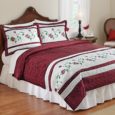 Embroidered Blooming Rose  Coverlet