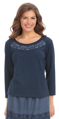 Embroidered Scoop Neck Top