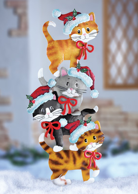 Stack of Holiday Cats Yard Decor