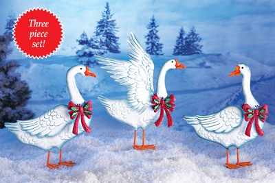 Snow Geese Ribbon Garden Stakes- Set of 3