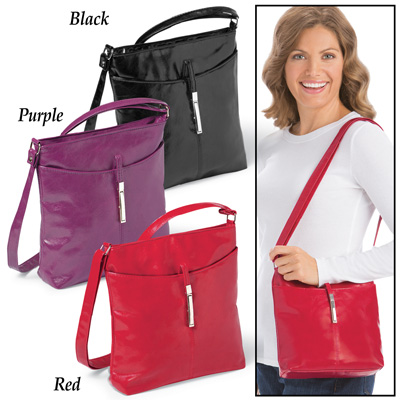 Extendable Shoulder Bag with Buckle Accent