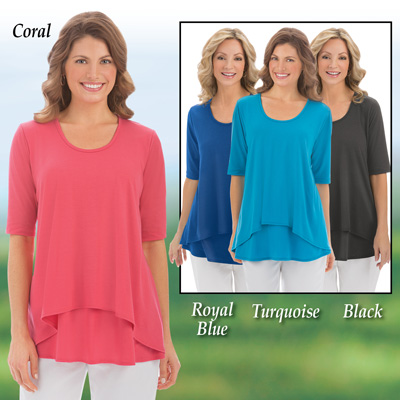 Double Tier Short Sleeve Knit Top