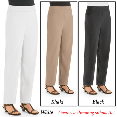 Slimming Pull-on Twill Pants with Spandex