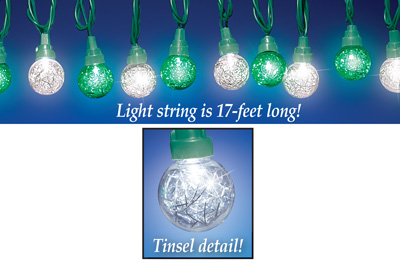 Green and Clear Tinsel String Lights