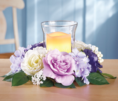Artificial Purple Roses LED Candle Holder